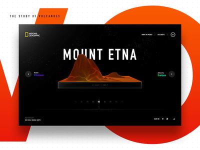 Main Menu volcanoes interactive experience science earth geology terrain 3d gradient vivid microsite education
