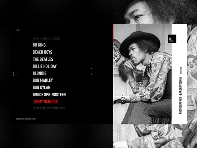 Artist's Index jimi hendrix black and white gallery exhibition interactive gallery photography rock web design