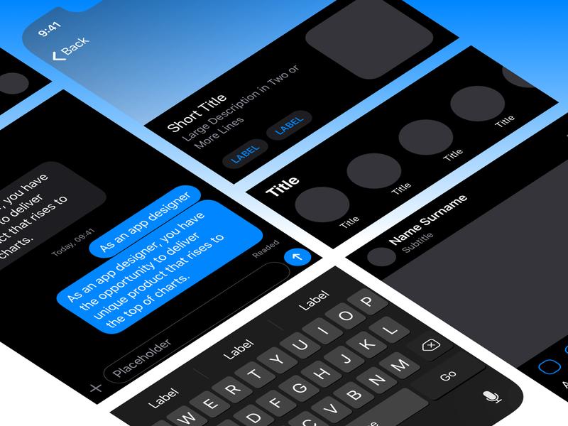 Mosaic Dark Theme 🌙 dark theme dark ui wireframe ux kit kit mobile design mobile ui design ux ui interface