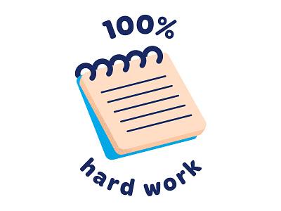 Hard Work Badge alvz cute vector illustration stationary notebook hard work badge