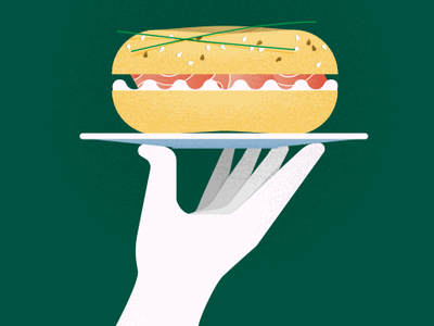 Fresh Bagel Shop clean salmon dish hand waiter server snack food sandwich hipster nyc cafe restaurant shop bagle alvz illo illustration design logo
