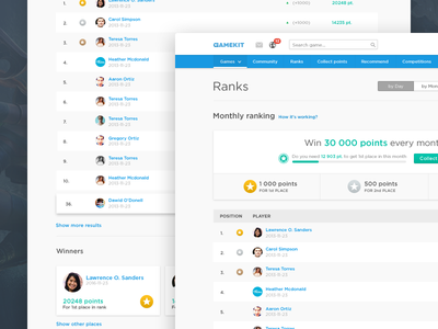 Ranking page points list game website leaderboard navigation table players ranks ux ui