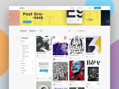 Explore products (e-commerce) shop e-commerce menu sidebar gallery item navigation books art product ux ui