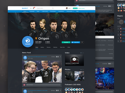 Profile page (e-Sport team) e-sport feed navigation header video games players stream team profile ux ui