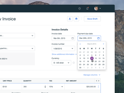 Create new Invoice ui ux dashboard application calendar invoice table platform purchase panel workflow create