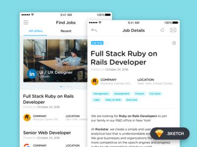 Job Application for iOS (Sketch freebies) offers list details navigation application freebies sketch job app mobile ios