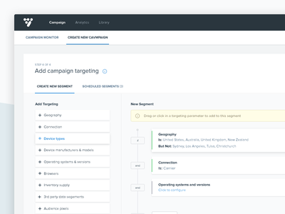 Create new Campaign - last steps (dashboard) navigation step form upload create campaign panel dashboard ux ui