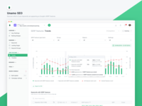 Unamo SEO - SERP Features monitoring tooltip table data keyword analyse results data analysis graph app website application navigation dashboard ux ui