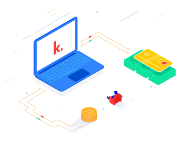 Kevin Eu illustration content technology cash credit card card money coins coin laptop notebook computer isometric illustration isometric isometria isometry bright digital design illustration flat design