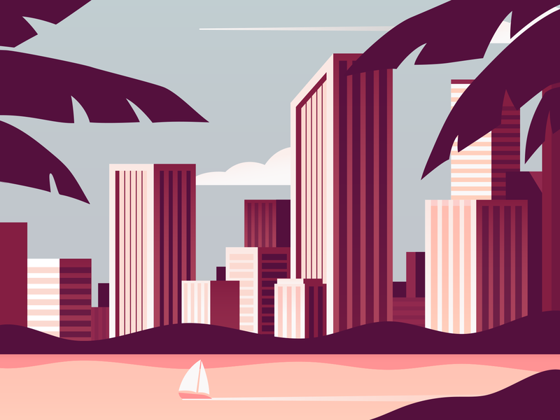 Header close city illustration businesswoman business flat illustration flat art ship leaves palm leaves palms exotic warm beach beach city cityscape city digital design illustration flat design