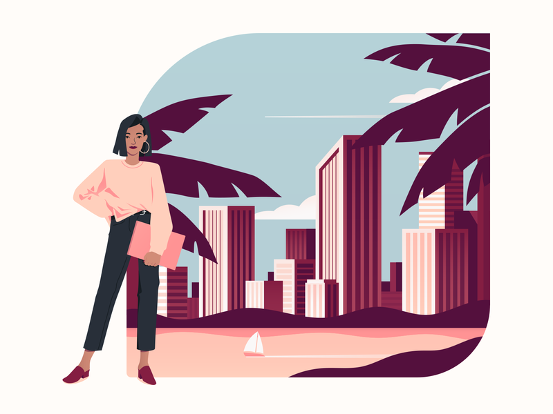 Header palms tropical leaves skyline tropical ambitious woman ambitious businesswoman business girl woman modern tropic cityscape city character design character digital design illustration flat design