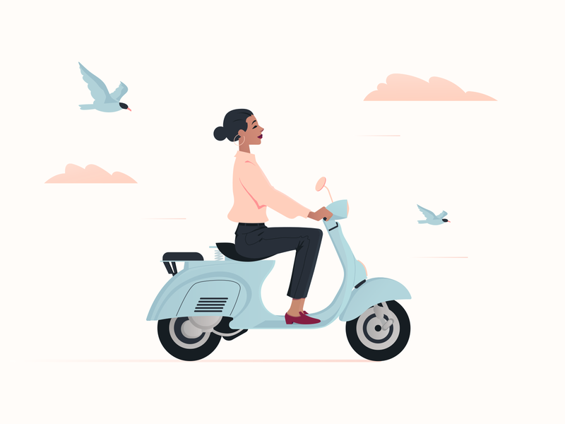Freedom classy vespa businesswomen businesswoman birds motorbike bike scooter girly women girl woman freedom tower freedom character design character digital design illustration flat design