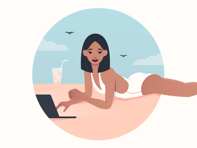 Girls Building Empires girl sky skyline relax chilling drink coctail beach ambitious enterpreneur business woman vector businesswoman colorful bright flat illustration character character design