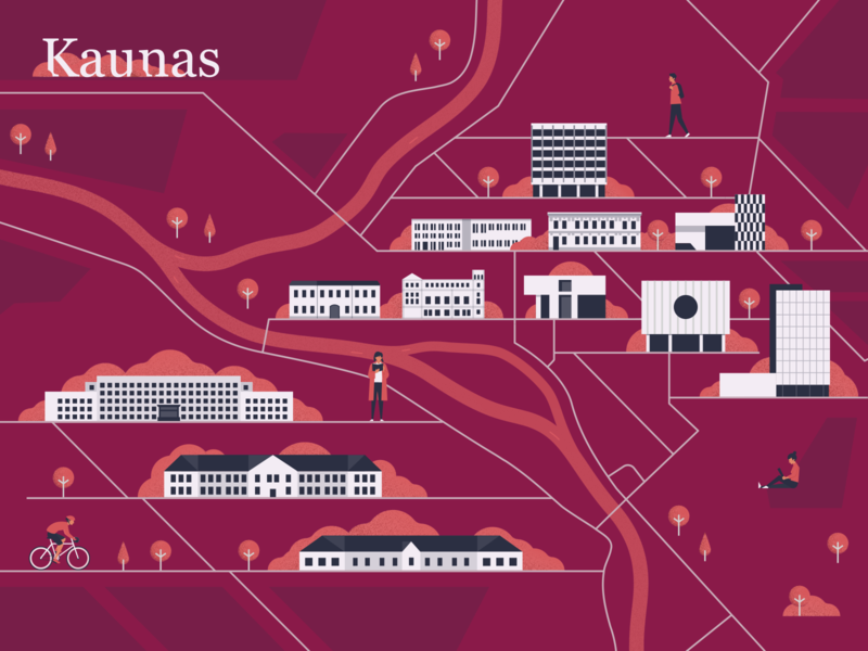 Map of Vytautas Magnus University people building didžiojo vytauto university magnus vilnius kaunas of illustrated map map illustration map colorful vector character design character digital design design flat illustration