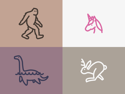 Iconic Creatures simple line icon big foot jackalope loch ness monster unicorn sasquatch