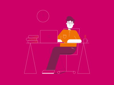 Office pink outline happy computer office characterdesign illustration