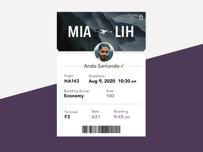 UI Challenge Day 074 - Boarding Pass app design travel app travel hawaii boarding pass ui challenge ui design ui