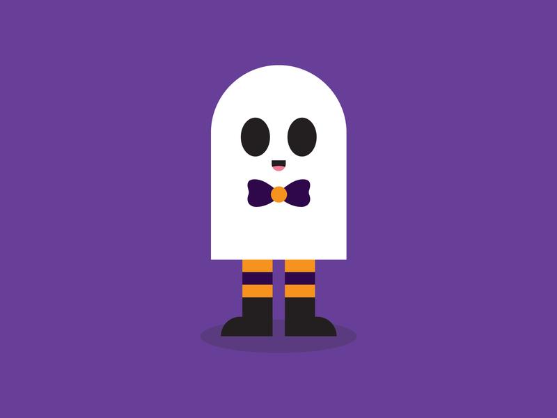 Friendly Neighborhood Ghost character boo halloween cute spooky ghost adobe illustrator illustration