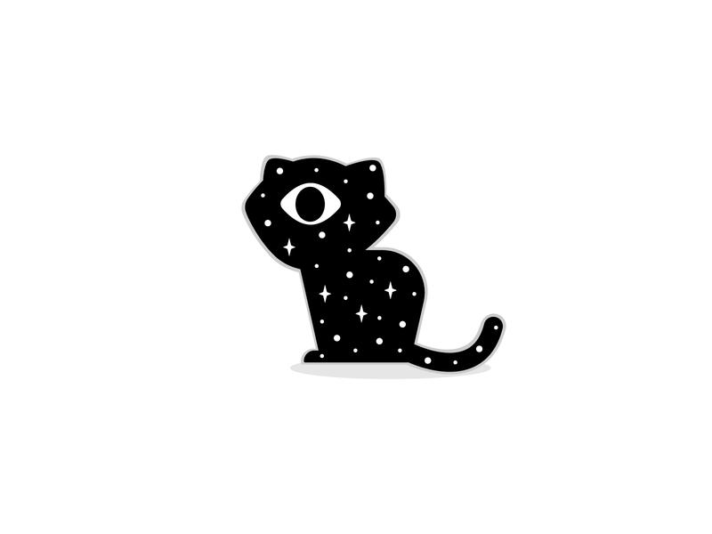 Cosmic eye cyclops space stars meow cat cosmic halloween boo illustration spooky adobe illustrator