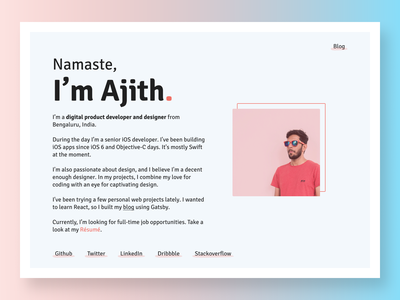 Ajith - Personal Portfolio Website minimalistic designer developer landingpage website personal personal project portfolio
