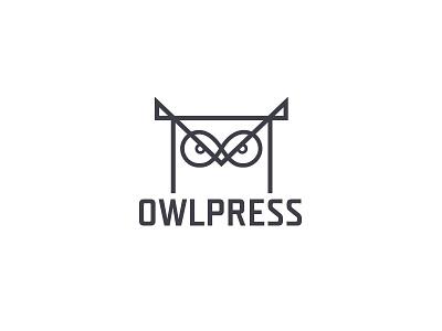 OWLPRESS - logo owlpress infinity simple eyes book owl typography brand modern logo design