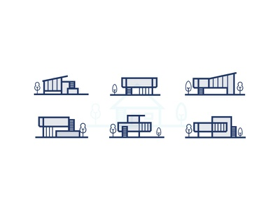 Modern house Icon line outline design graphic set illustrator vector simple modern house icon