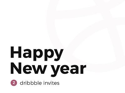 Happy New Year ! 2 dribbble Invitations ! follow year new happy shot minimal invitation icon giveaway dribbble car ball