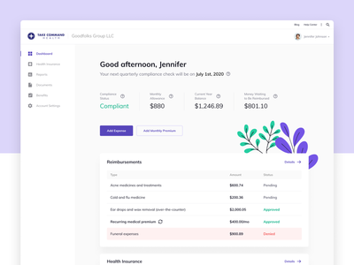 Dashboard Redesign for Take Command Health table account website product illustration saas card web design portal dashboard healthcare ux ui