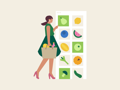 Pick your favourites online store online shop shop vegetable fruits and vegetables online shopping cart shopping app woman character