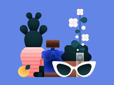 Feminine things woman fashion home things fruit icon plants perfume cactus lipstick sunglasses