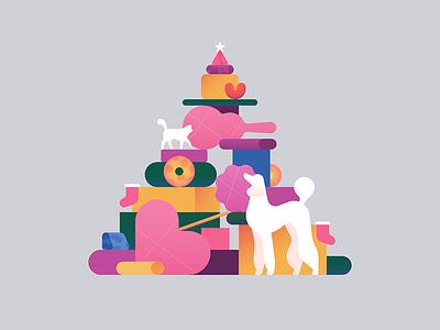 Christmas Tree christmas ball cosy winter celebration guitar cat dog animals presents christmas illustration