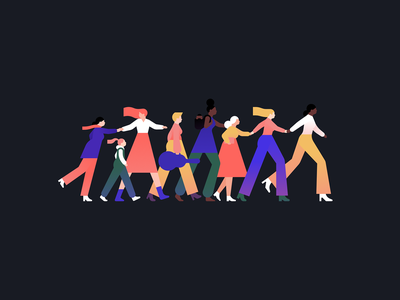 Stepping into the New Year together!🚀⠀ women empowerment new year 2019 new year fashion woman people character illustration