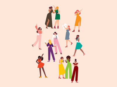 """What each sign is probably doing at a party"" design art illustration clothes fashion app fashion dog dancer dance astrological signs drinks girls night out girls people characterdesign party editorial illustration editorial"