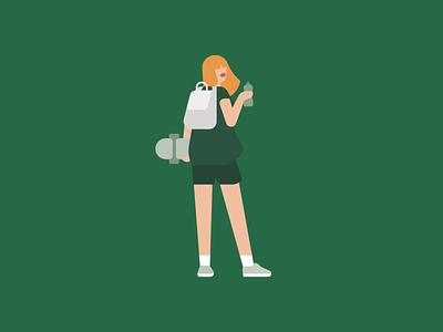 VSCO girl socialmedia cosmopolitan magazine illustration skateboard character editorial vector girl vsco