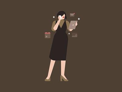 Capricorn horoscopes fashion woman people character editorial illustration