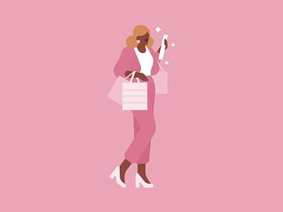 Taurus elegant bags brand editorial magazine shopping lady fashion woman people character illustration