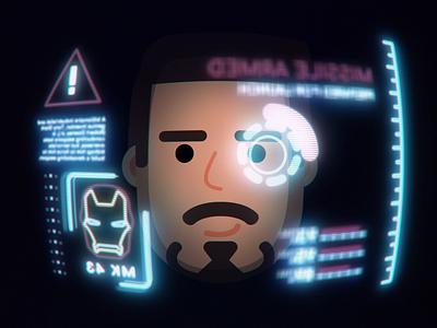 Tony Stark HUD iron man avengers endgame marvel avengers motion design 2d animation animation after effects tony stark