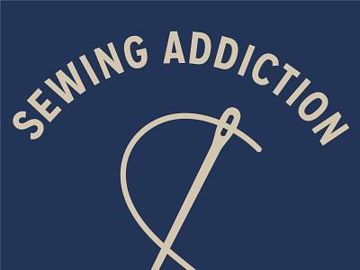 Sewing Addiction illustration branding logo thread needle sewing