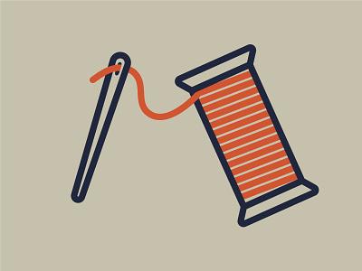 Sewing Addiction Reprise icon logo bobbin needle thread illustration