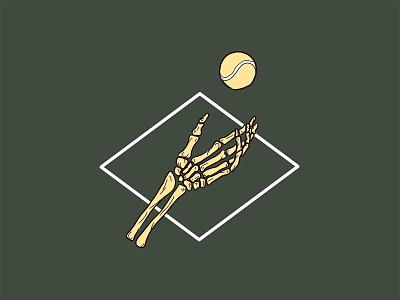 Tennelton tennis illustration tattoo skeleton bones serve