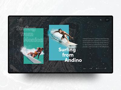 Surfing Legue creative direction dark ui fullscreen
