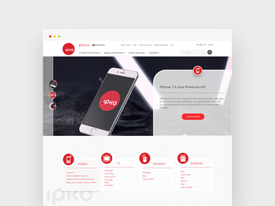 IPKO - Web Design Concept ux ui design creative minimal telecommunication web