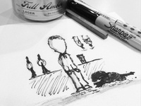 On the train home. Beer in hand. Napkin sketching.
