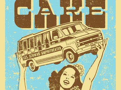 CAKE Concert Poster illustration vintage retro ruocco hula oregon hawaiian gigposter van concert tour brown blue woodtype typography band rock music