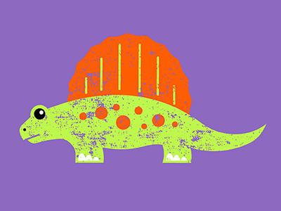 Sail-Back Dinosaur dinosaur sail-back dino illustration ruocco purple orange green kids museum prehistoric animal art print graphic