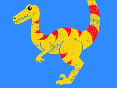 Deinonychus dinosaur graphic dino dinosaur prehistoric museum ruocco print design graphic red yellow blue illustration