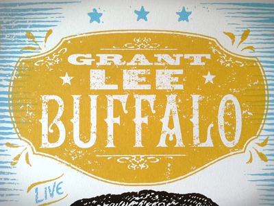 Grant Lee Buffalo Poster Type poster design woodtype typography vintage antique screenprint gigposter buffalo mammoth moon elephant
