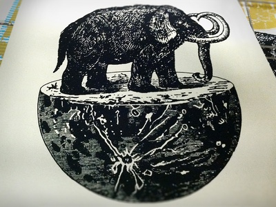 First Mammoth on the Moon gigposter poster ruocco moon prehistoric mammoth elephant screen-print
