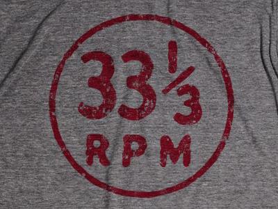 33 1/3 rpm Circle Icon T-shirt t-shirt tee number retro vintage record analog music typography ruocco design apparel