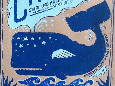 Whale Poster for the band CAKE whale illustration gigposter poster screen-print cake silkscreen concert music
